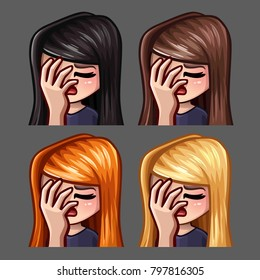 Emotion icons facepalm female with long hairs for social networks and stickers. Vector illustration