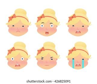 Emotion icons. Set of Emoji. Isolated vector illustration on a white background