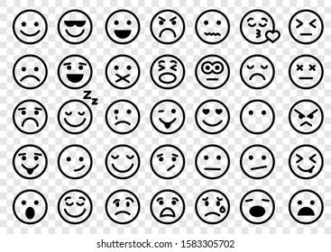 Emotion icons. Set of round lines Emoji symbols. Smile icon. Emoticon or emoji illustration icons