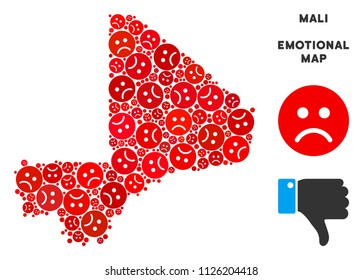 Emotion Mali map mosaic of sad smiles in red colors. Negative mood vector concept of crisis regions. Mali map is shaped with red sad emotion symbols. Abstract area plan.