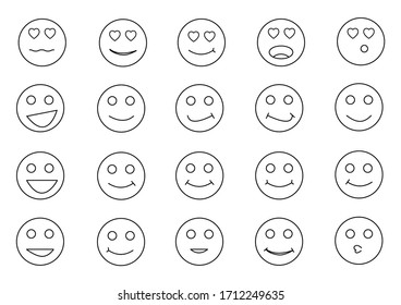 Emotion outline icon set. happy and funny circle face vector