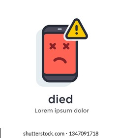 Emotion phone disease, thermometer, problems, glitches, virus, firmware, os illustration Icon. Landing page site print poster video animation