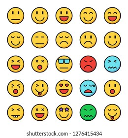 emotion pixel perfect color line icons, vector line editable stroke