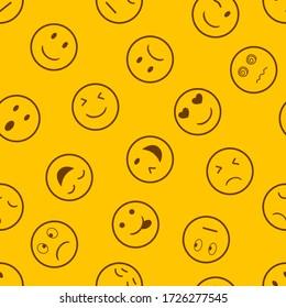 Emotion seamless pattern on yellow  background.