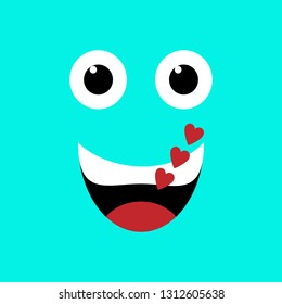 Emotion squared. Flat design. Blue playful loving face with hearts
