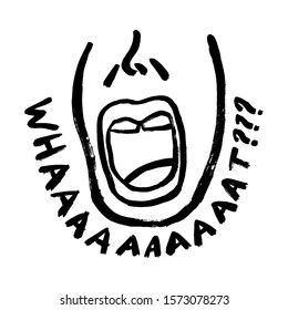 The emotion of surprise and wonder in a man on the face. Human emotion with text what? Illustration of an incredible event or news. Shocking open mouth icon. Doodle hand-drawn grunge style.
