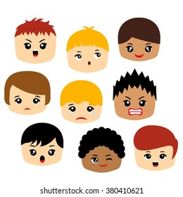Emotion vector featuring boy faces.