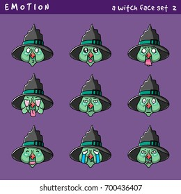 Emotion vector of a Witch, Emoji for web design, gimmicks for halloween.