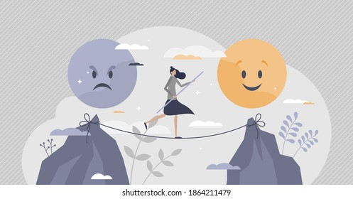 Emotional balance as good feeling choice over bad mood tiny person concept. Female on slackline as tight emotion control with unstable mental state vector illustration. Choose your face expression. - Shutterstock ID 1864211479
