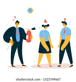 Emotional burnout office workers with their boss stands with a fire extinguisher near them and think how to prevent emotional burnout.Tired office workers with low battery,emotional burnout concept.