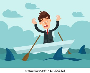 Emotional businessman on a boat in the ocean. Dangerous sharks swimming around the boat. Man in panic. Business vector illustration, flat cartoon style.