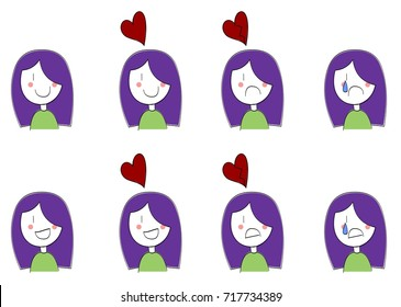 Emotional cartoon girl showing happiness and sadness