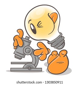 Emotional character cartoon lightbulb. Scientist microbiologist. On white background. Vector