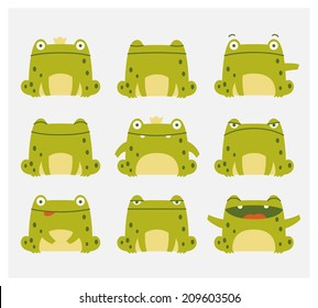 Emotional cute frogs. Cartoon character.