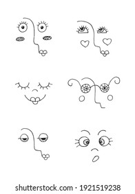 Emotional faces seamless black and white decoration pattern