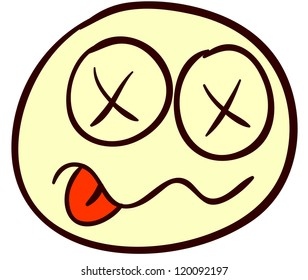 Emotional funny smiley. Done in comic doodle style.