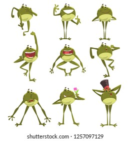 Emotional green funny frog, amfibian animal cartoon character in different poses vector Illustration on a white background