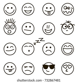 Emotional hand drawn faces set