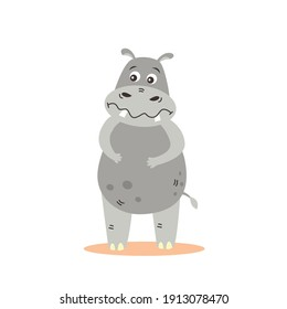 Emotional hippo holding its belly