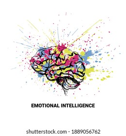 Emotional intellect. Conceptual art image with bright blots. Vector illustration