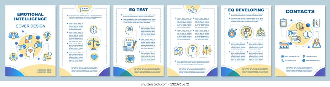 Emotional intelligence brochure template layout. EQ test, developing. Flyer, booklet, leaflet print design, linear illustrations. Vector page layouts for magazines, annual reports, advertising posters