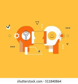Emotional intelligence concept, communication skills, reasoning and persuasion. Psychology education concept, flat design illustration on white background