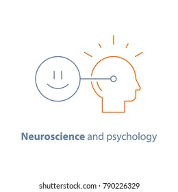 Emotional intelligence concept, neuroscience and psychology, positive mindset, mental connection, vector line icon, thin stroke