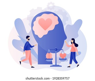 Emotional intelligence. Heart and brain on balanced scale symbol. Tiny people exploring inner personality. Love, mind, logical. Modern flat cartoon style. Vector illustration on white background - Shutterstock ID 1928359757