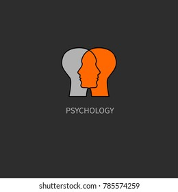 Emotional intelligence. Icon psychology. Logo psychologist. Two male profiles. Vector