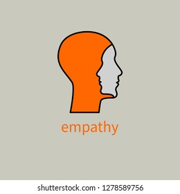 Emotional intelligence, logo two human profiles, coaching icon, psychologist, empathy symbol, psychiatrist, therapy, psychology sign. Vector illustration