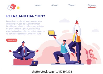 Emotional Job, Achievement Focus, Sport Relax, Meditation. Lifestyle. Office Health. Concept for Web Banner, Infographics, Hero Images. Flat Vector Illustration Isolated on White Background.