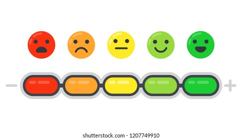 Emotional scale. Mood indicator, customer satisfaction survey and colored emotions indication, emoji barometer indicators rating. Emotion levels measure isolated flat vector illustration