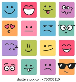 Emotional square colorful faces