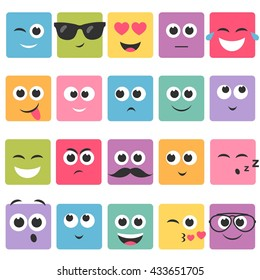 Emotional square colorful faces icon set