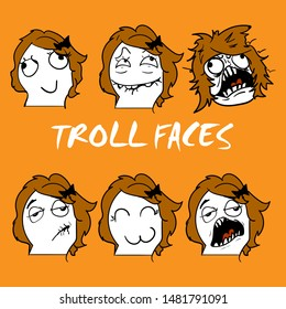 emotional stickers internet memes troll girl faces