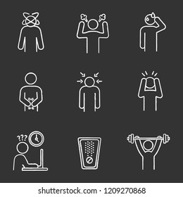 Emotional stress chalk icons set. Dizziness, anger, cold sweat, indigestion, nervous tension, panic attack, work rush, drug, sport exercise. Isolated vector chalkboard illustrations