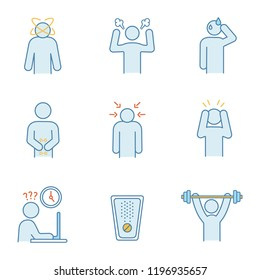 Emotional stress color icons set. Dizziness, anger, cold sweat, indigestion, nervous tension, panic attack, work rush, drug, sport exercise. Isolated vector illustrations