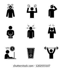 Emotional stress glyph icons set. Dizziness, anger, cold sweat, indigestion, nervous tension, panic attack, work rush, drug, sport exercise. Silhouette symbols. Vector isolated illustration