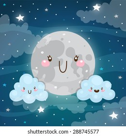 Emotional weather forecast: Cute moon and happy clouds, vector.