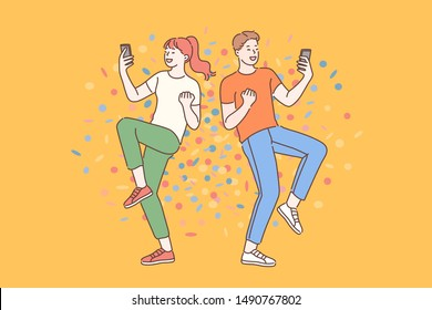 Emotional wow concept. Surprised young guy and girl blogger reading shocked news in message on mobile phone. Friends enjoy the good news in their smartphone. Simple flat vector.