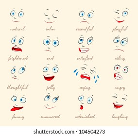Emotions. Cartoon facial expressions set. ( natural, calm, resentful, playful, frightened, sad, satisfied, ailing, thoughtful, jolly, crying, angry, funny, enamored, astonished, laughing ) vector
