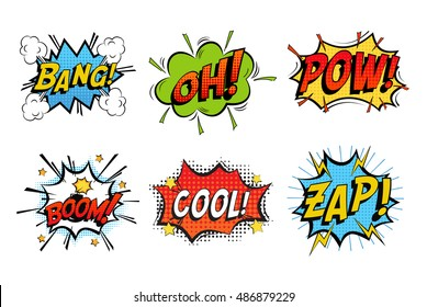 Emotions for comics speech bubble bang and cool, oh or ooh. Onomatopoeia clouds for explosions like boom, punches - pow, cool with stars and zap with lightning. For cartoons and speech bubble