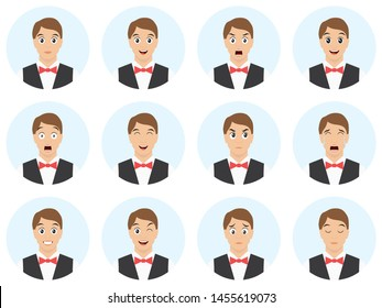 Emotions and expressions set. Waiter - man with different emotions and facial expressions. Avatar pack - vector illustration.