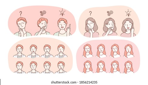 Emotions, facial expression variety concept. Male and female face with various positive and negative expressions showing frustration, enlightenment, sadness, aggression, happiness, brooding, surprise
