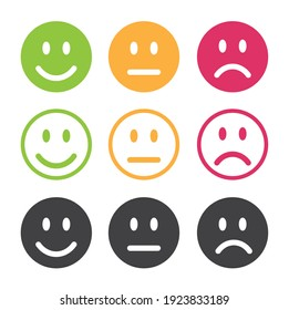 Emotions of happiness, indifference and sadness.