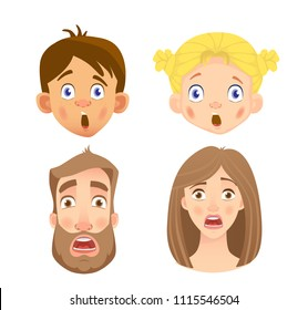 Emotions of human face. Set of human faces expressing emotions. Vector illustration