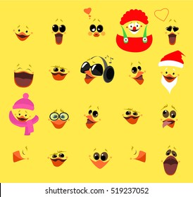 Emotions. A large set of emotions chicken face. Cartoon characters. Vector