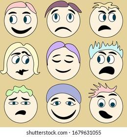 emotions nine emoji funny faces smile set