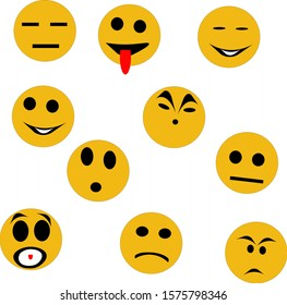 Emotions of the person.Cartoon yellow faces on a white background.Vector illustration.For prints, greeting cards, textiles, book illustrations.