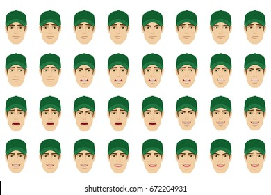 Emotions set. A man wearing a cap with different emotions and facial expressions. Portrait of Delivery man or Worker in a flat style. Vector illustration.